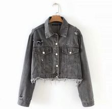 цена на HCBLESS 2019 Denim Jackets Women inverted pocket denim jacket short jacket Denim Loose Spring Autumn Denim Coat Jean