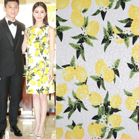 Retro Style DIY Fabric White Lemon Flower Printed Jacquard Fabric