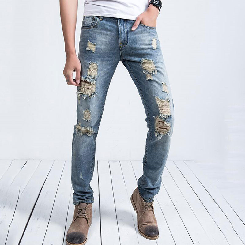 2019 Summer New Fashion Men's Jeans Wash Water Hole Trousers Worn Out Old Men's Straight Jeans More Size 28-34 36