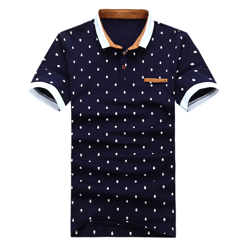 New Brand   POLO   Shirt Men Cotton Fashion Skull Dots Print Camisa   Polo   Summer Short-sleeve Casual Shirts Tops for Full Print