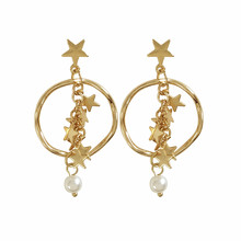 The stars earrings Fashionable tassel 2018 Geometric metal big pearl Exquisite fashion jewelry accessories