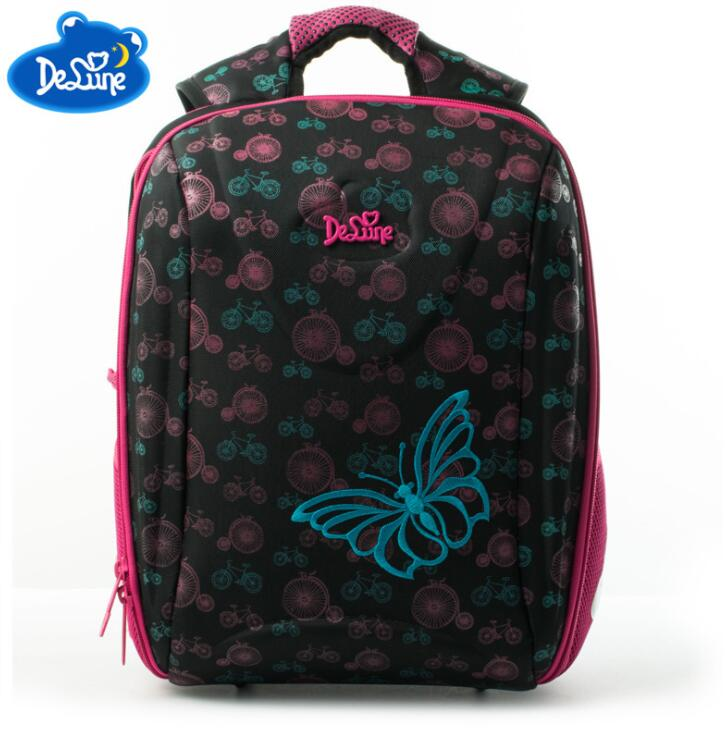 Delune Brand Nylon Kids 3D Cartoon School bags 1-3 Grade Studets Children Orthopedic School Backpacks for Girls Boys School Bag