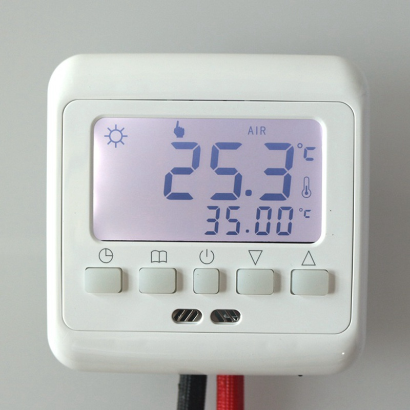 New Underfloor Heating Thermostat with White Backlight LCD Keys Weekly Programmable Room Warm Temperature Controller wenzhou dahua time relay dhc6a a3 power failure to maintain the call to continue with lcd backlight with backlight