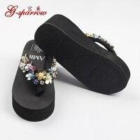 Bohemian Slippers Female Summer Korean Style Anti Skid Beach Ladies Black Wedge Platform Flip Flops Shoes