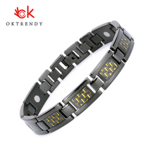 Oktrendy Blood Pressure Japanese Magnetic Bracelet Energy Health Care Titanium Bracelets Bangle Yellow Carbon Fiber