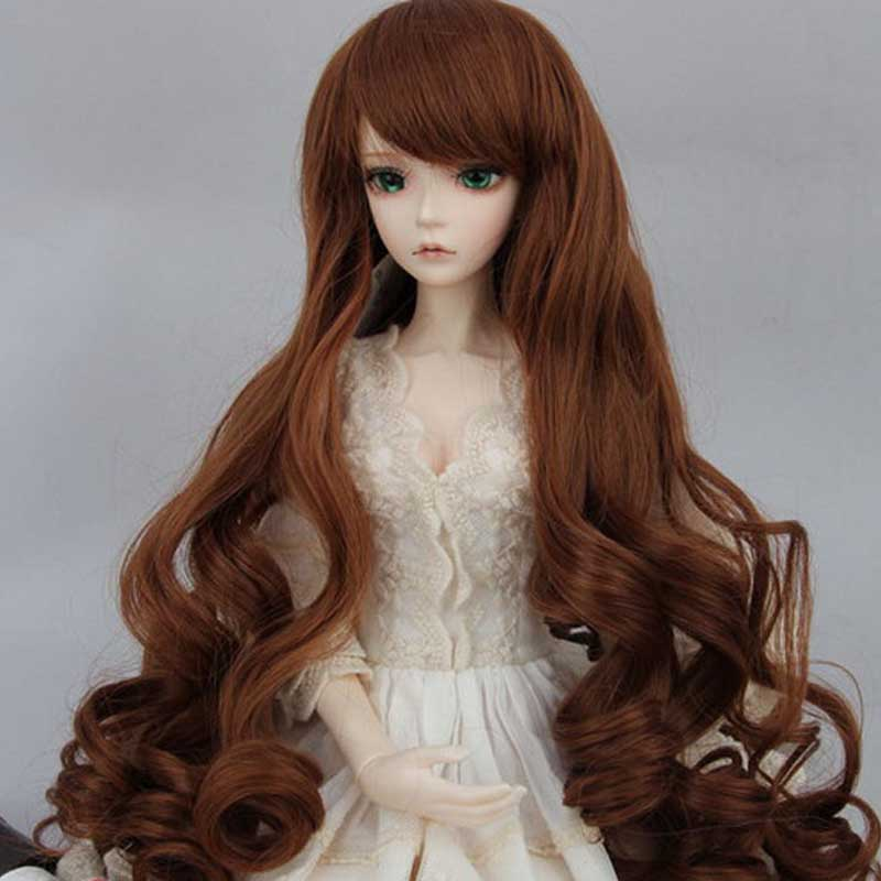 2015 Hot Sale Long Doll Hair Curly Brown High Temperature Wire BJD 1/6 Wig