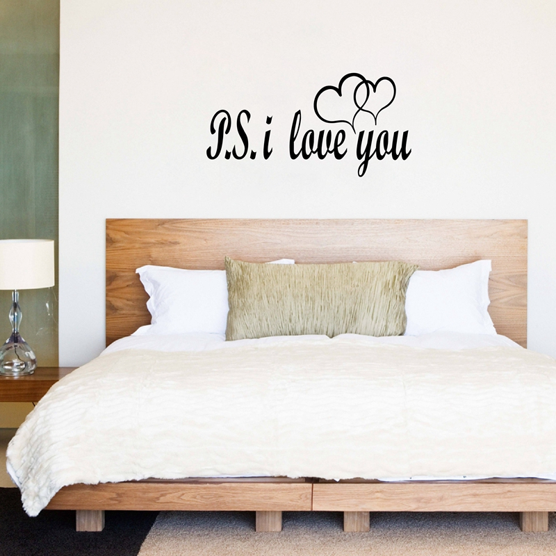 Romantic Bedroom Wall Decor: Free Shipping Large Size PS I LOVE YOU Vinyl Wall