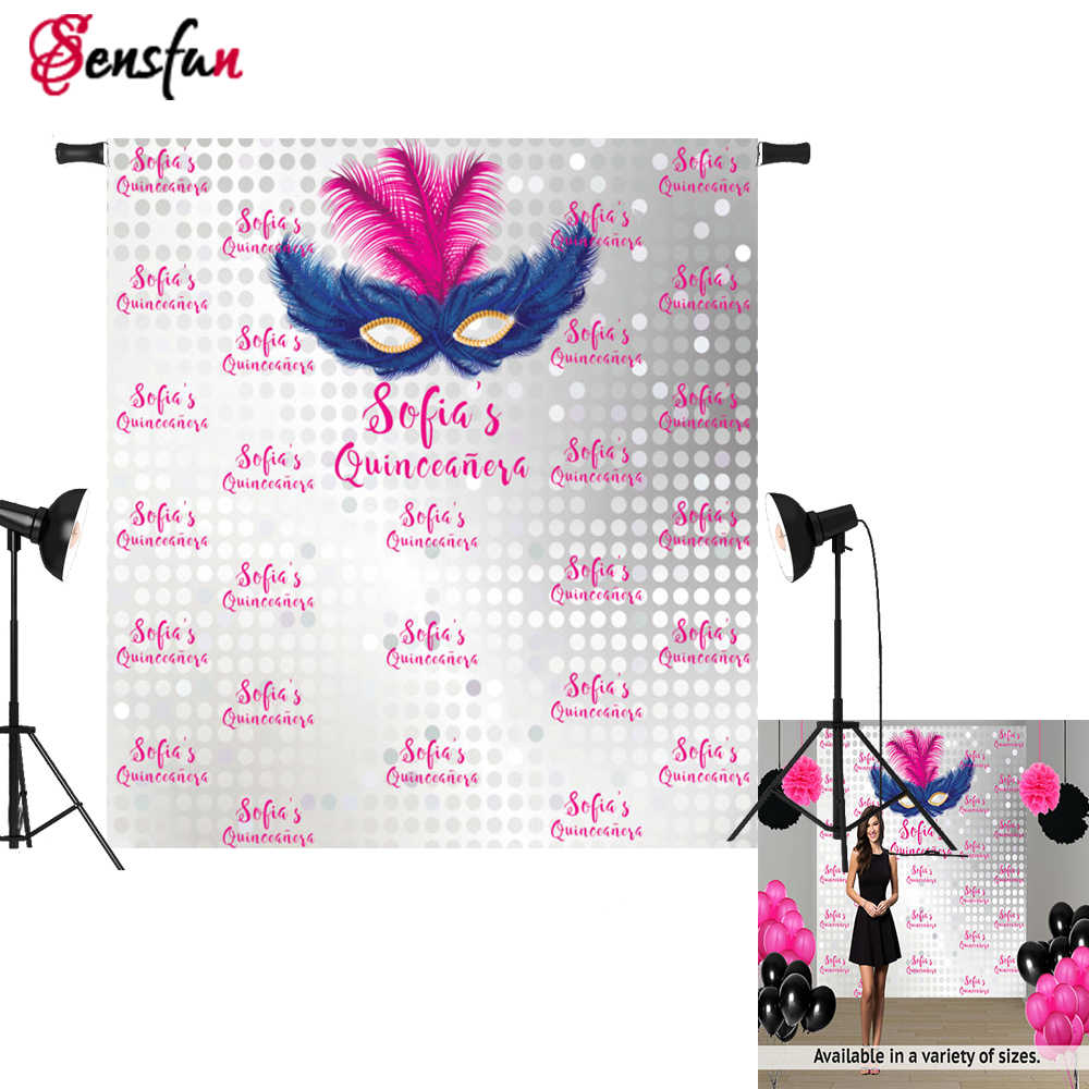 Sensfun 5x7FT Masquerade Party Photographic Background Vinyl Fabric Mask Photo Backdrops 2017 Quinceanera Party Photocall