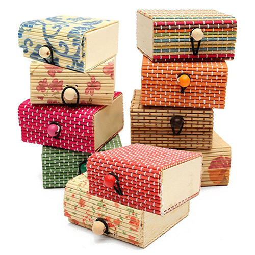 Ring Necklace Earrings Bamboo Wooden Case Jewelry Storage Boxes Holder Gift