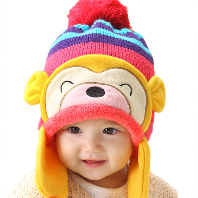 3d127015818ed7 Cute Kids Winter Warm Monkey Pom Pom Beanie Hat Earflap Knitted Cap New for  5 months to 5 years