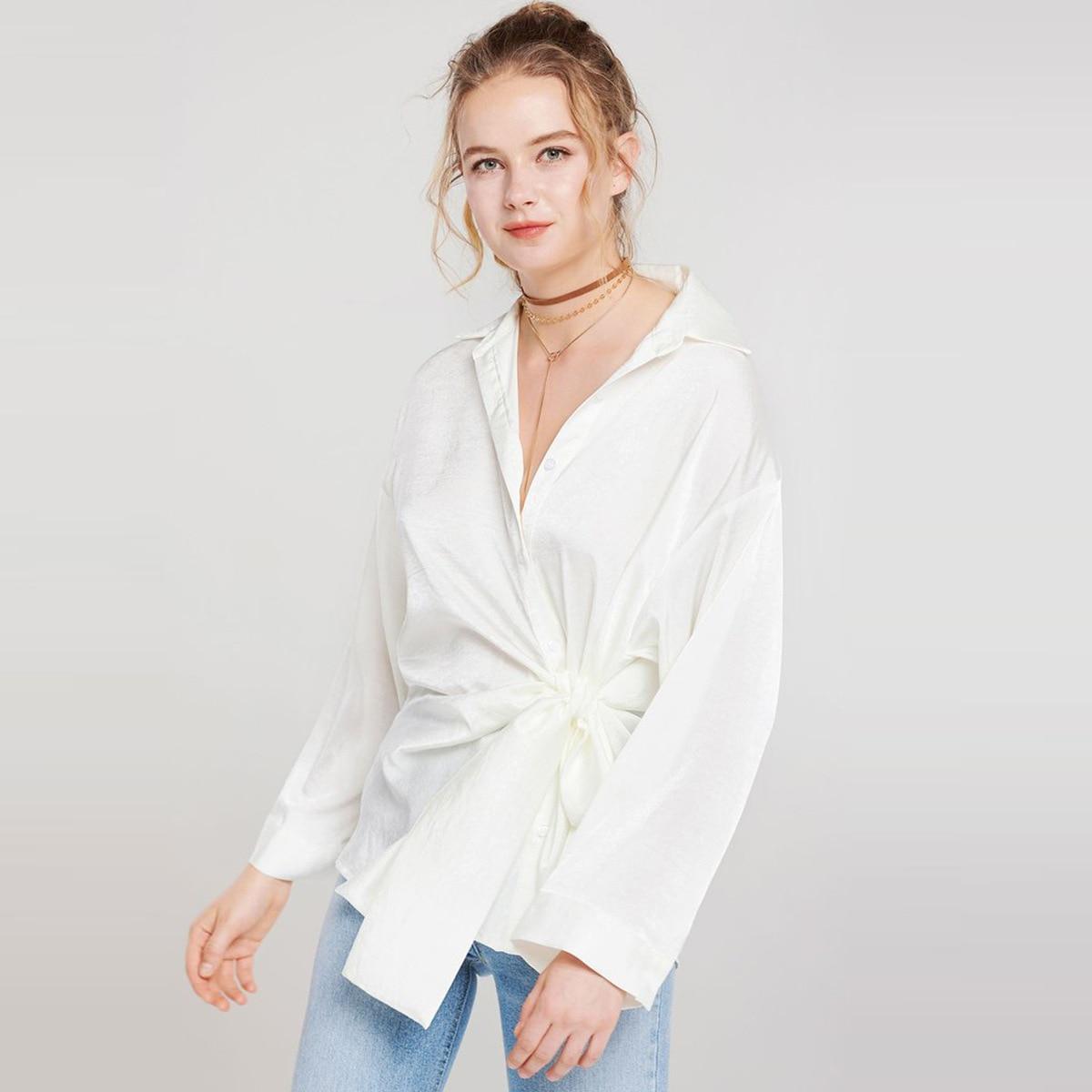 Blouse Chemises Élégant Up Casual Tops Lâche Lady Lace Longues Femmes Bas A Plus Femme Vers Le Taille Office Manches La Tournent Boutons Blanc q1T4E8