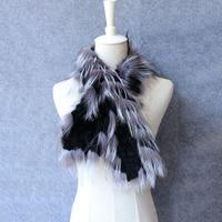 2017 New Arrival Real Rex Rabbit Fur Scarf silver fox fur trim Ring Women Natural fur collar winter warm egelgant fashion stole