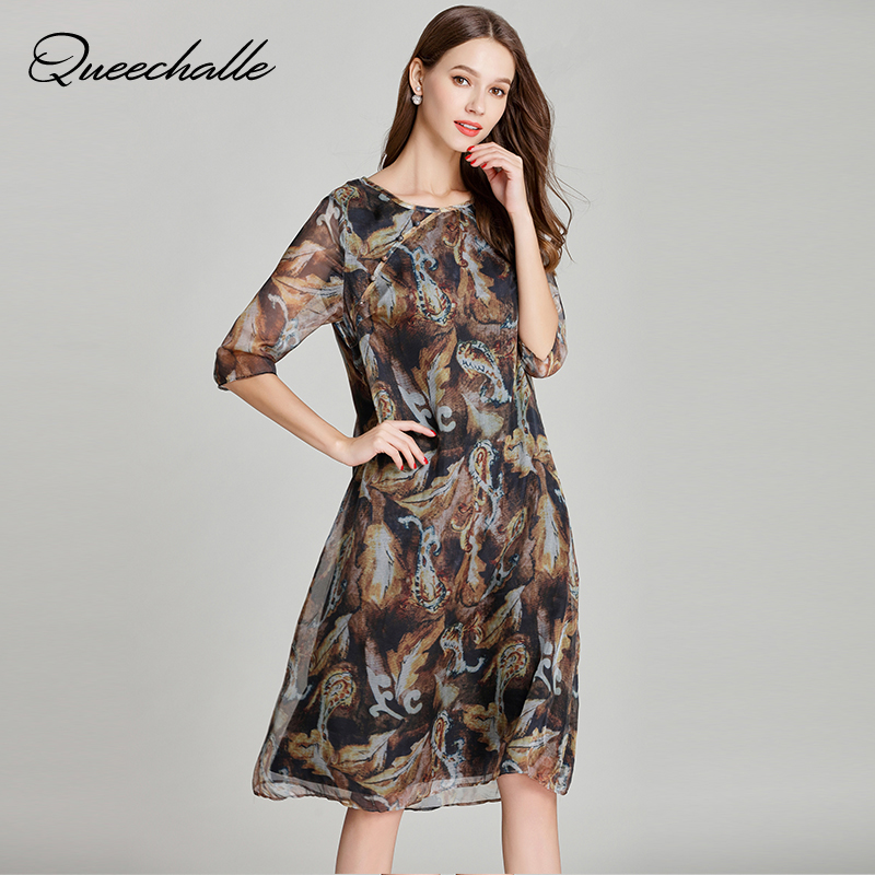 356e4402a4 Queechalle Half Sleeve Vintage Print Chiffon Dress 2018 Summer Dress Women  Loose Elegant Dress 3XL 4XL