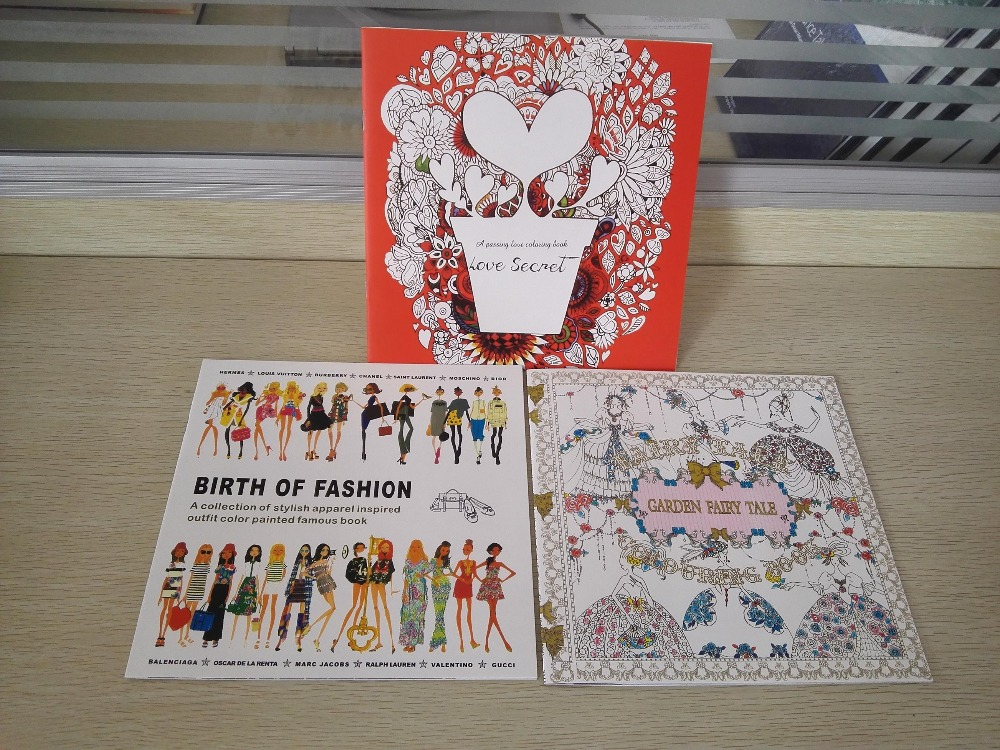 3PCS LOT 24 Pages English Love Secret Birth Of Fashion Garden Fairy Tale Coloring Book