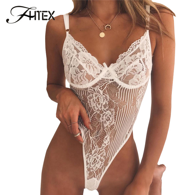 FHTEX Sexy Lace Bodysuit Romper Women Spaghetti Strap Transparent Slim Nightclub Jumpsuit Backless Party Overall