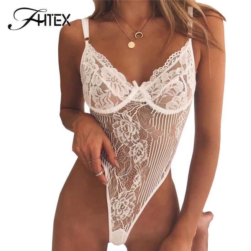 FHTEX Sexy Spitze Body Strampler Frauen Spaghetti Strap Transparent Schlank Nachtclub Overall Backless Partei Insgesamt