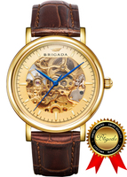 BRIGADA Swiss Brand Watches Luxury Gold Watches for Men, Leather Band Nice Automatic Hollow Mechanical Men's Watch