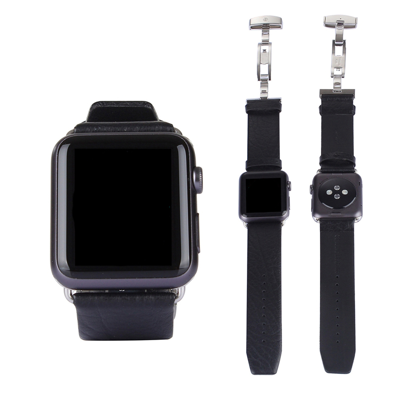 URVOI Leather band for apple watch series 1 2 3 sport/standard genuine leather strap with deployment buckle color black brown