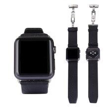 Urvoi pulseira de couro para a apple watch esporte/padrão pulseira de couro genuíno com fivela de implantação cor preto/brown para 42mm relógio