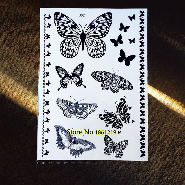dee076188 1PC Black Butterfly Fake Henna Temporary Tattoo Stickers GBJ024 Lovely Butterfly  Tattoo New Body Art Tattoo