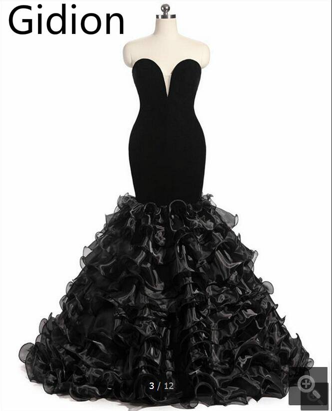 2017 gambaran nyata velour hitam mermaid prom dress 2017 panjang strapless dengan ruffles sayang neck prom gowns terlaris
