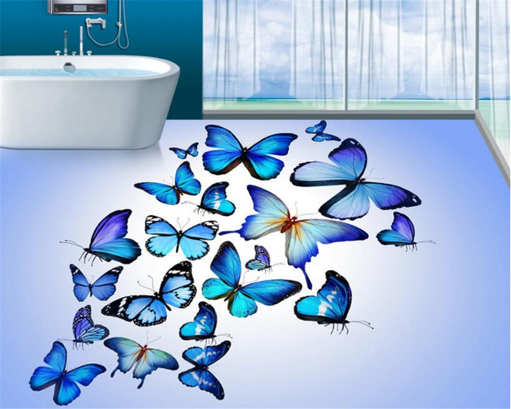 beibehang Interior painting papel de parede 3d wallpaper fresh and beautiful blue butterfly bathroom 3D floor can be made Zenith beibehang can be scrubbing simple