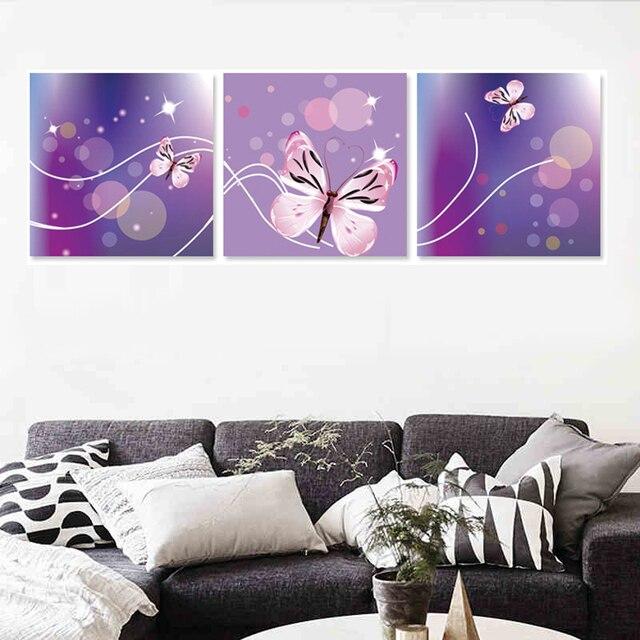 3 Stück Home Wand Dekorative Kunst Bilder Abstrakte Lila Schmetterling  Leinwand Malerei Schlafzimmer Kinderzimmer Dekor (