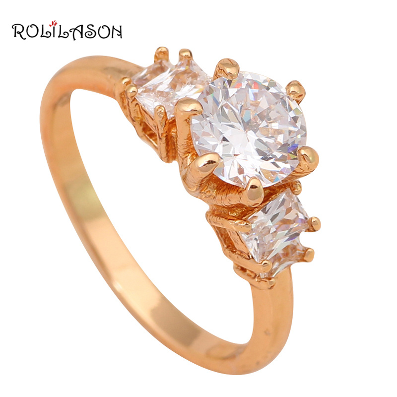 Office style ring Gold Tone Health Jewelry Australia Zircon Ring for dinner party lady Sz #7 #5.5 JR1857