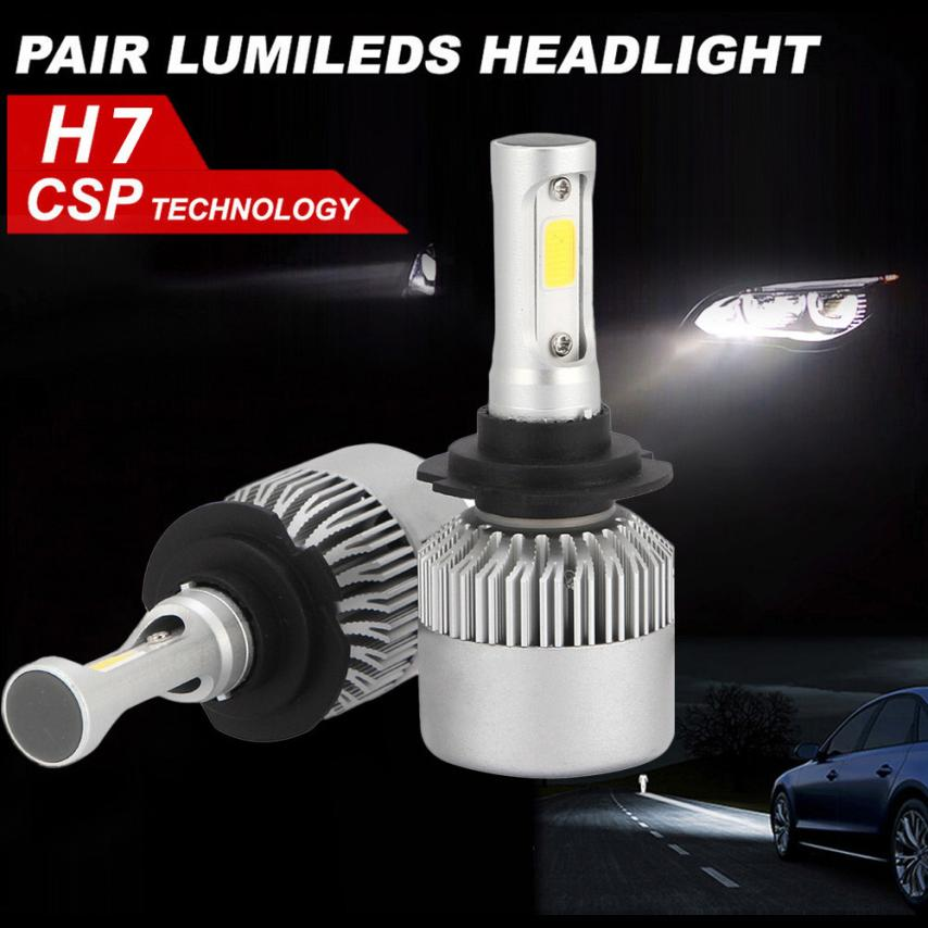 2018 New Car styling H7 72W LED Headlight KIT High Power Replace Halogen Xenon 7600LM Low Voltage Protection Built in IC Circuit