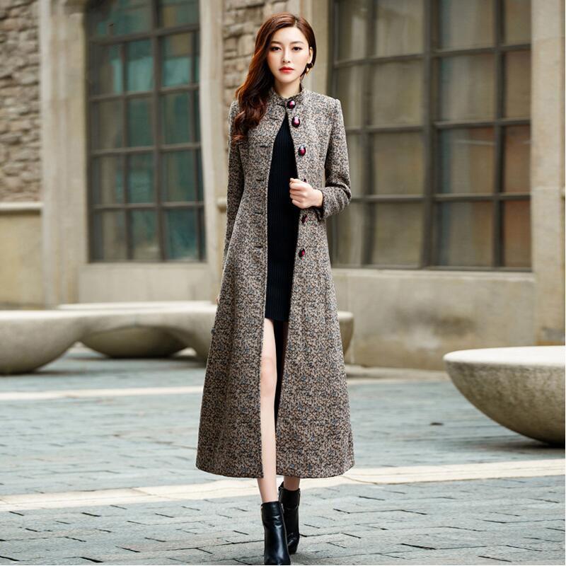 254737db1 New European style Autumn and Winter Women Wool Coat slim mandarin ...