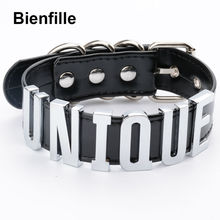 Sexy Designed Unique Choker Gold Silver Metal Collar Handmade BDSM 35MM Big Words PU Leather Buckle Collar Fetish Necklace Women