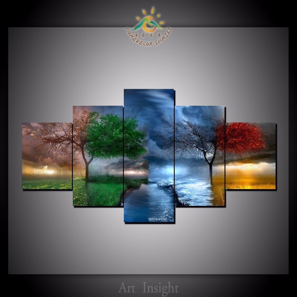 5 pieces set four seasons tree wall art paintings picture for Wall art painting