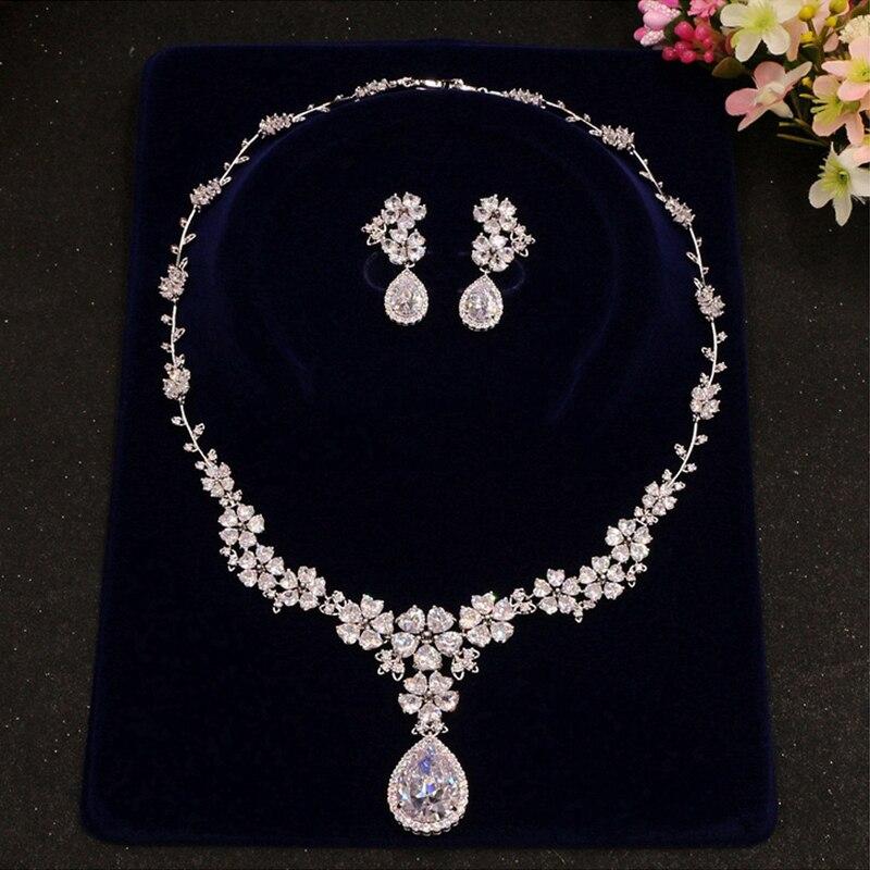 Cubic Zirconia Flower Crystal Bridal Necklace Water Drop Pendant Earrings Jewelry Rhinestones Wedding Accessories For Girls