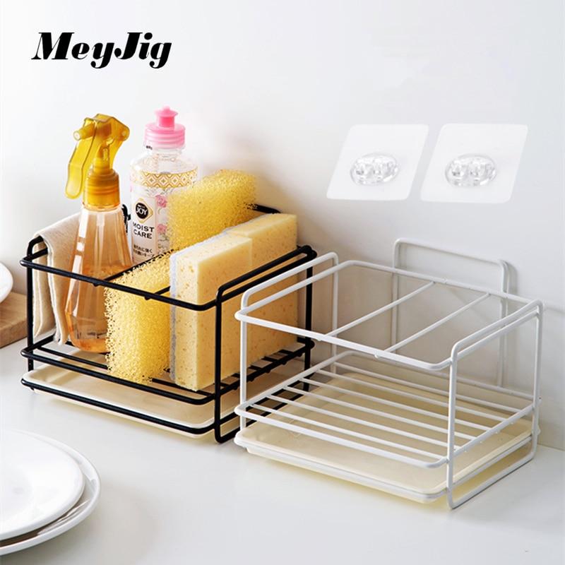 Sponge Drain Storage Rack Organizer Household Pool Shelf Kitchen Sink Countertop Cleaning Rag Shelf Sundries Storage Container
