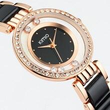 Kimio ultra slim Top Brand Woman watches Fashion Ladies Crystal Clock Black Ceramics Gold Luxury Women Rhinestone Diamond Watch