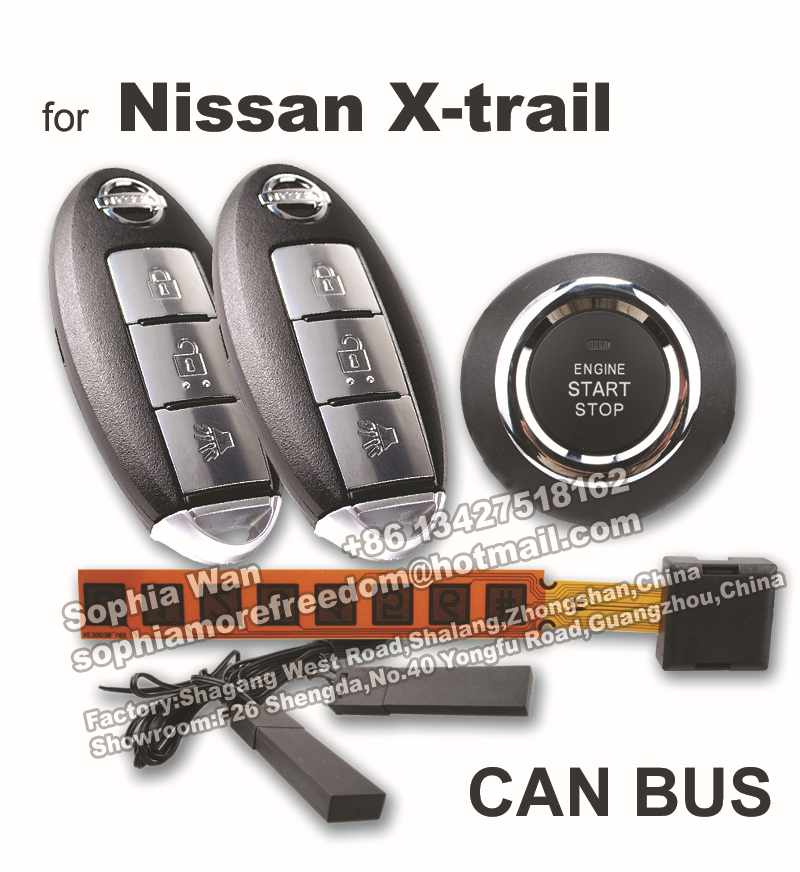 For nissan x trail rogne can bus car alarm push button start smart for nissan x trail rogne can bus car alarm push button start smart key keyless entry remote starter engine start window closer in burglar alarm from fandeluxe Gallery