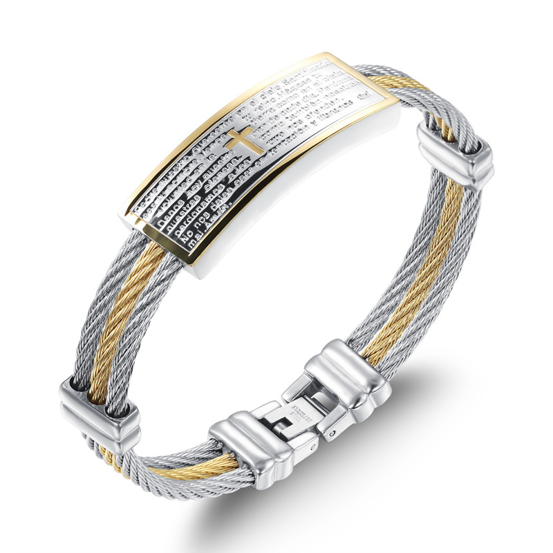2018 NEW Men s Bracelet 3 Rows Wire Chain Bracelets Cross Bangles Fashion Punk 316L Stainless