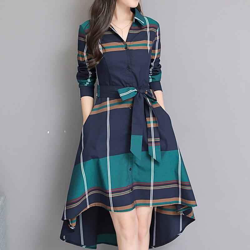 Vestido De Festa 2018 Autumn Elegant Asymmetrical Hem Dress Bodycon Long Sleeve Turn-down Collar Party Plaid Dresses Plus Size