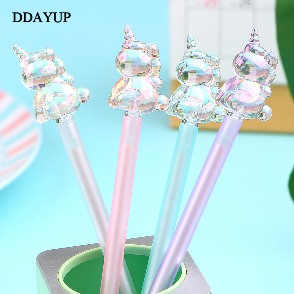 2Pcs/lot Crystal-Headed Unicorn Cartoon Gel Pen Signature Pen Escolar Papelaria School Office Supply Promotional Gift
