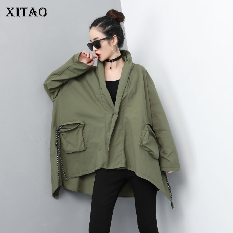 [XITAO] Europe Fashion New Women 2019 Spring Summer A-line Hooded Collar Full Sleeve Loose Pocket Casual Long   Trench   DLL2908