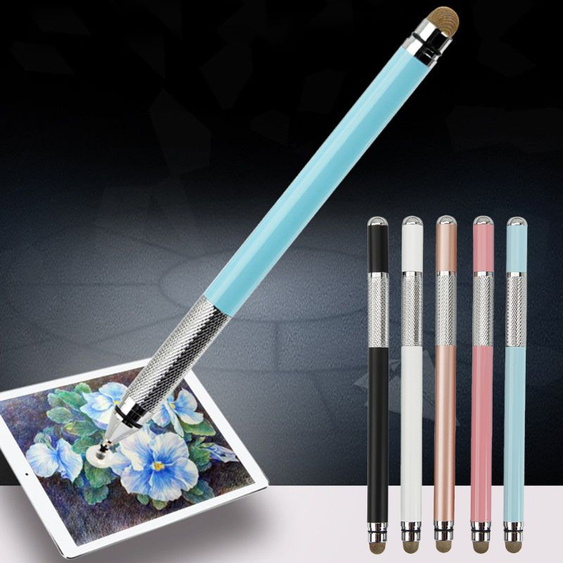2 In 1 Multifunction Fine Point Touch Screen Metal Capacitive Stylus Pen For IPhone IPad Smart Phone CellPhone Tablet PC