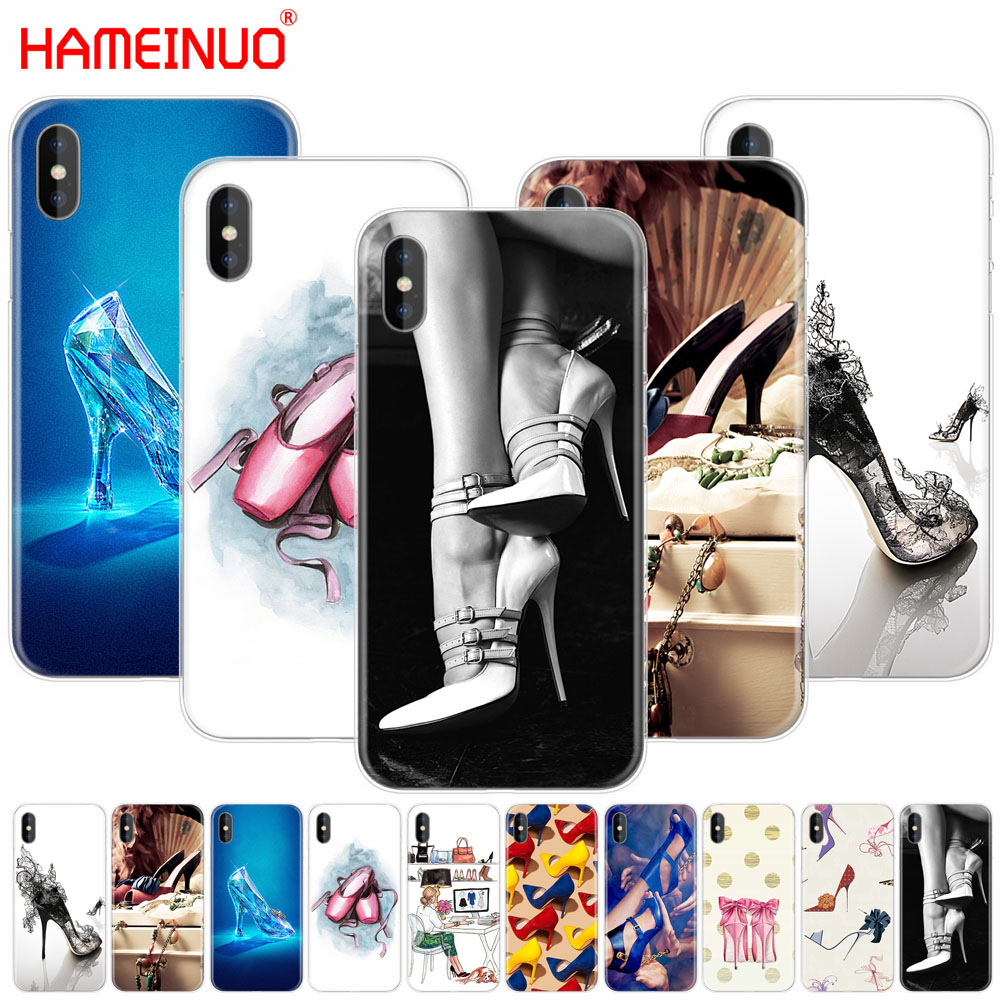 HAMEINUO High heels shoes ballerina cell phone Cover case for iphone X 8 7 6 4 4s 5 5s SE 5c 6s plus