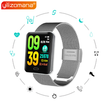 Yilizomana Smart Watch Steel / Silicone Band Steps Rate Heart Monitor Call Reminder LED Screen Smart Wristband for Android IOS цены онлайн