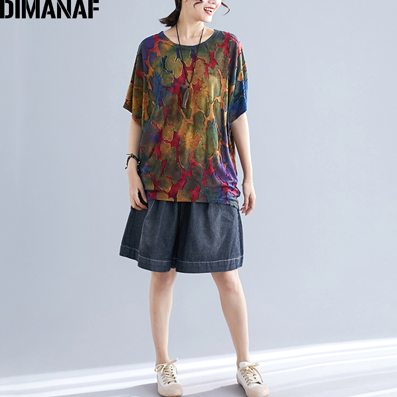 b082f57394e4ce DIMANAF Plus Size Women T-Shirts Basic Lady Tops Tees Big Size Summer  Vintage Print Patchwork Female Clothing Loose Batwing 2019