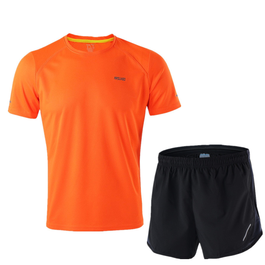 Image 4 - ARSUXEO Running Set Men Jogging Jersey Sports Suit Gym Clothing Sportswear Breathable Marathon Shorts and Running Shirts-in Running Sets from Sports & Entertainment on AliExpress