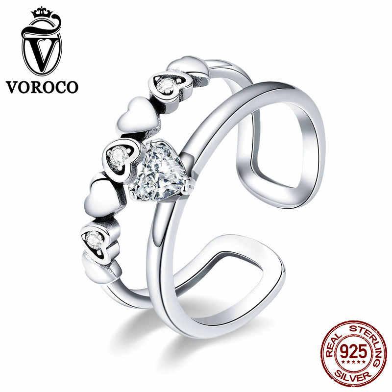 VOROCO รูปดาว 925 Sterling Silver Clear Zircon Heart Glitter เปิดแหวนนิ้วมือหมั้นแต่งงานเงินเครื่องประดับ BKR429