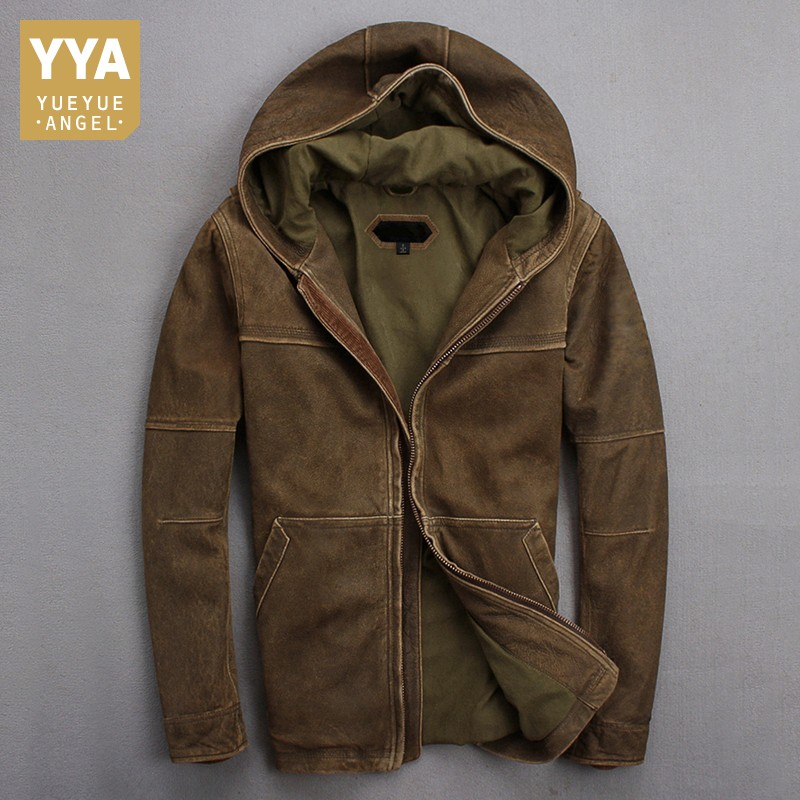 2019 automne hiver à capuche hommes en cuir de vache naturel veste en peau de mouton mince Vintage en cuir véritable veste manteaux coupe-vent pardessus