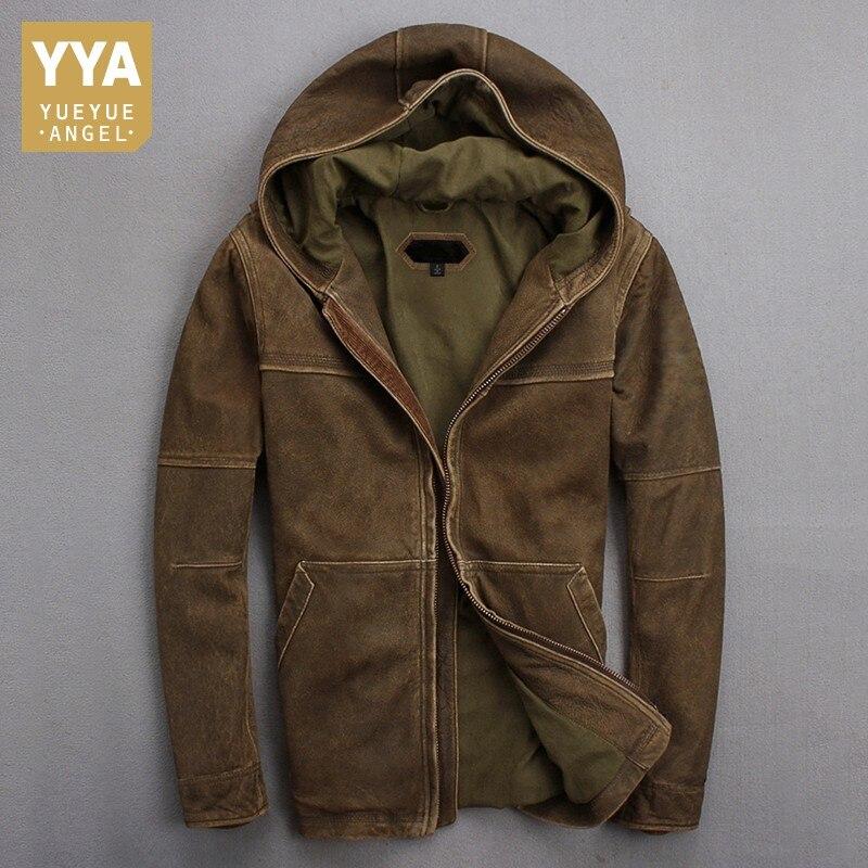 2019 otoño invierno con capucha para hombre chaqueta de cuero Natural de vaca delgada piel de oveja Vintage chaqueta de cuero Real abrigos a prueba de viento