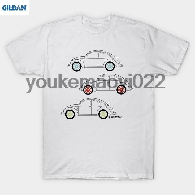 GILDAN VW Beetle Car outline with coloured wheels T-Shirt MEN T-SHIRT