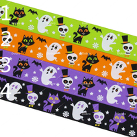 1 25mm Cartoon Ghost Cats Halloween Festival Printed Grosgrain Ribbons for Home Craft Party Gift Decorations 10